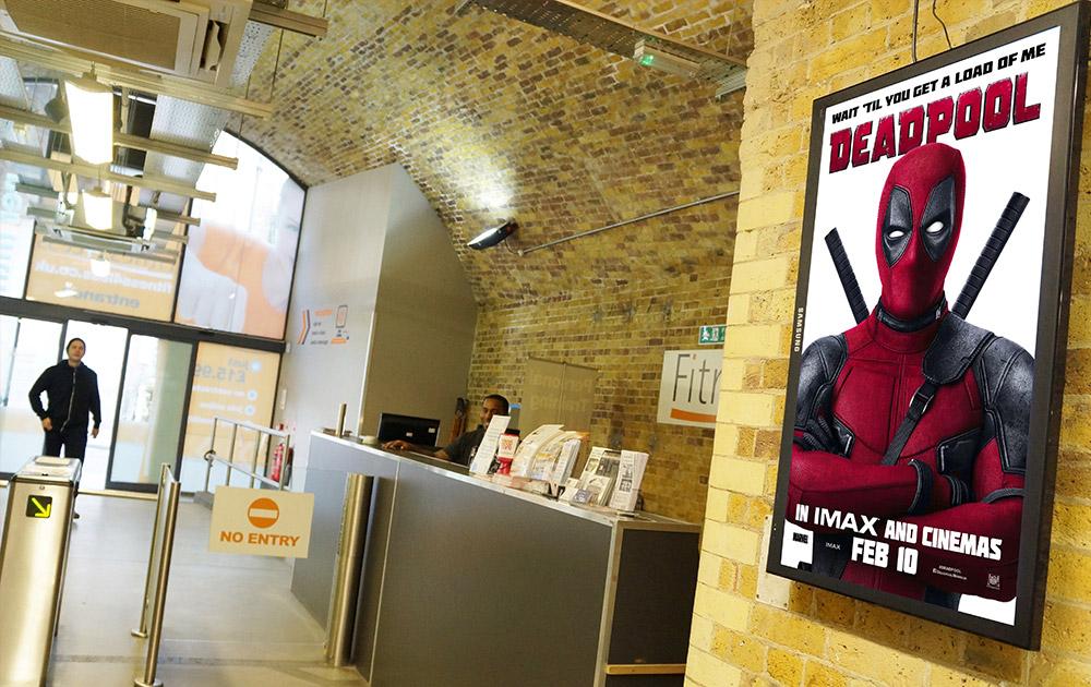Deadpool D6 advertising at health club