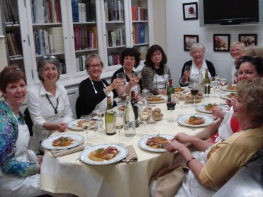 Our group of Paris women enjoying the meal we prepared after our cooking class at the Paris Ritz Hotel. That's me, second from the left swilling a delightful Sancerre.