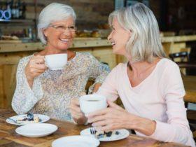 Happy Seniors Drinking Coffee