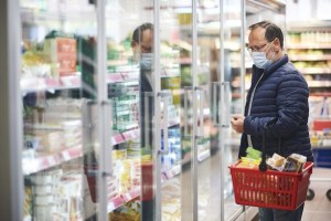 Senior Citizen Grocery Shopping During Covid-19 Shelter In Place Orders
