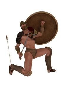 40260709 - legendary grecian warrior wounded by arrow in his heel which is his only vulnerability