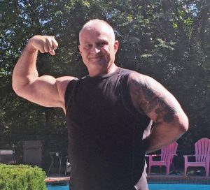 Brian Patterson biceps by pool
