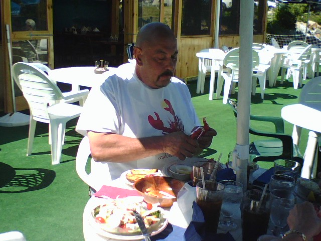 Eating Maine Lobster out on the deck