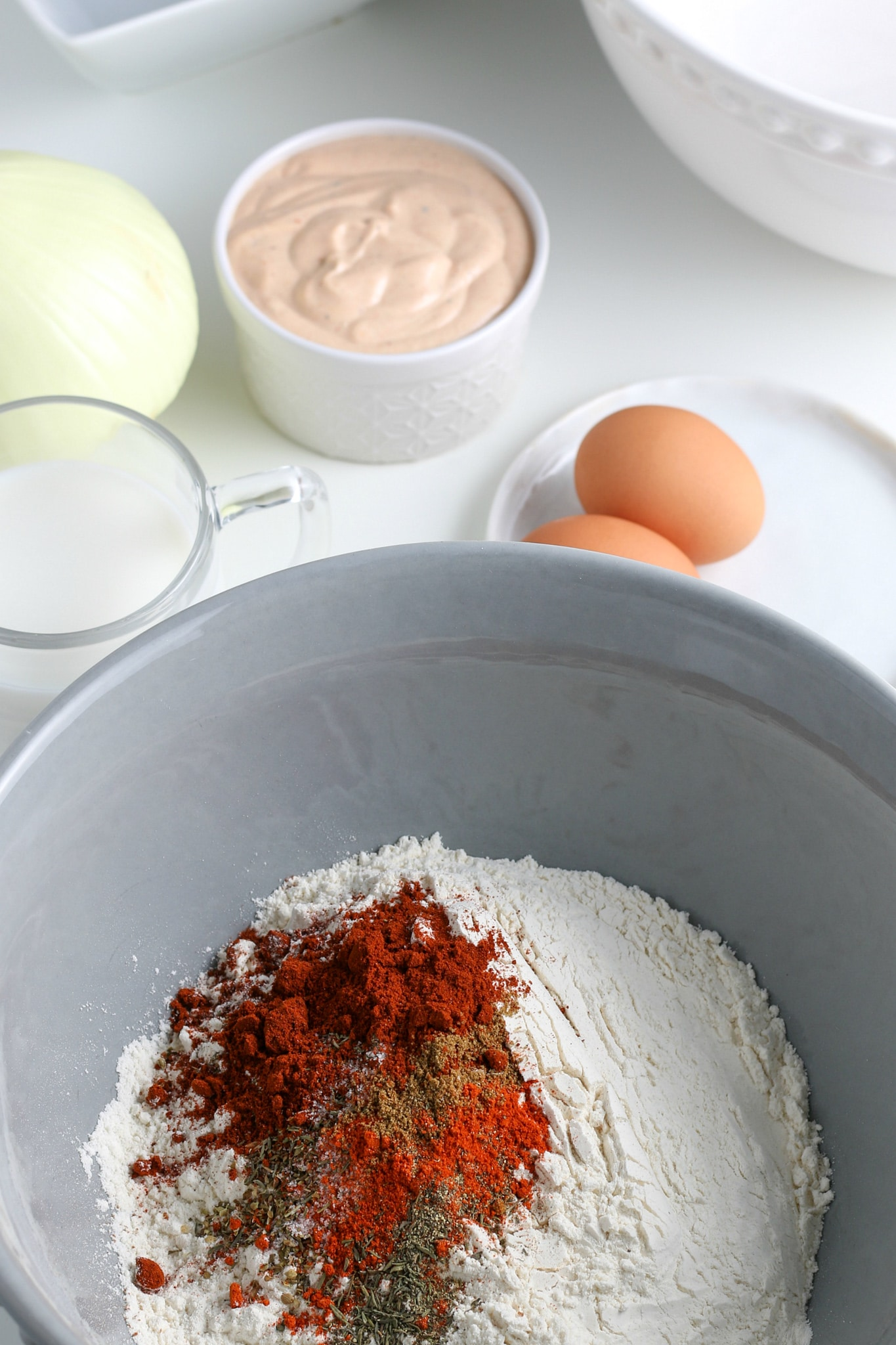 flour and spices in a large mixing bowl.