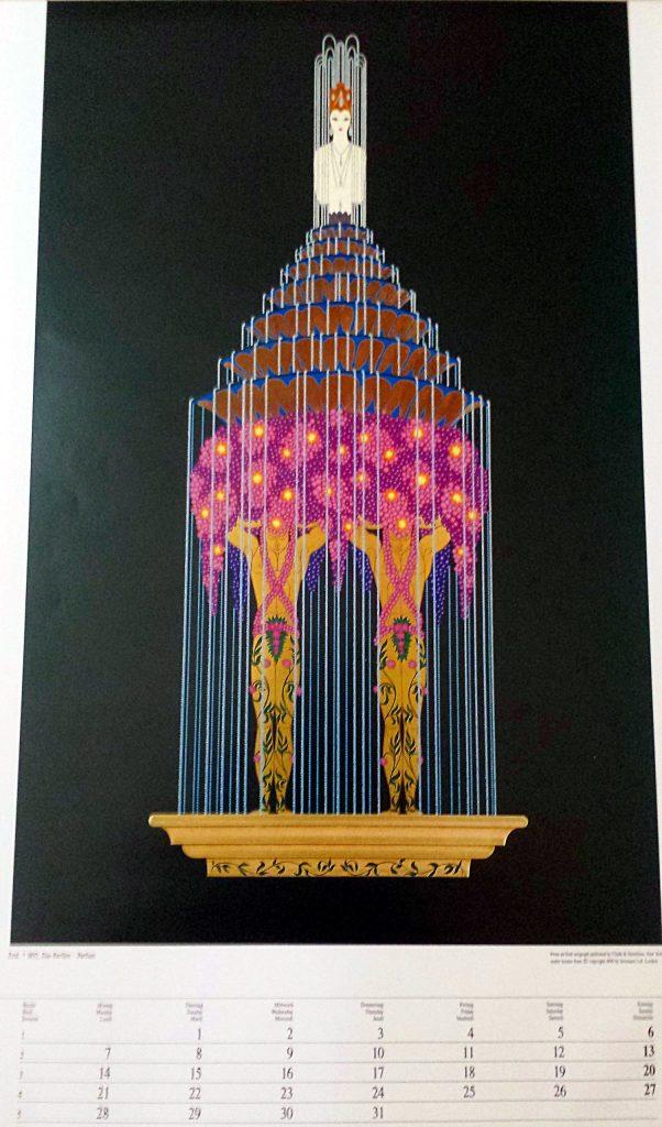 """Erte' Art Deco Calendar Page Lithograph """"Das Perfum"""""""