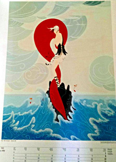 "Erte' Art Deco Calendar Page Lithograph ""Stranded"""