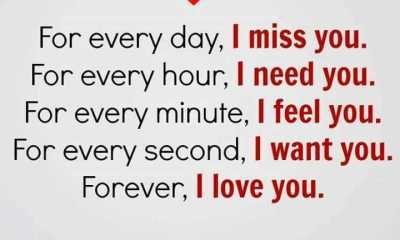 Forever, I Love You Every Day, Never I Miss You - Short Quotes about Love