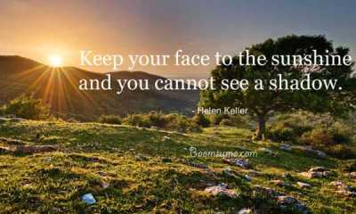 Helen Keller Quotes If you face sunshine No Shadow Positive Quotes about life quotes