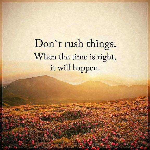 Inspirational life quotes about success Don't rush Things, When Right Time It Will