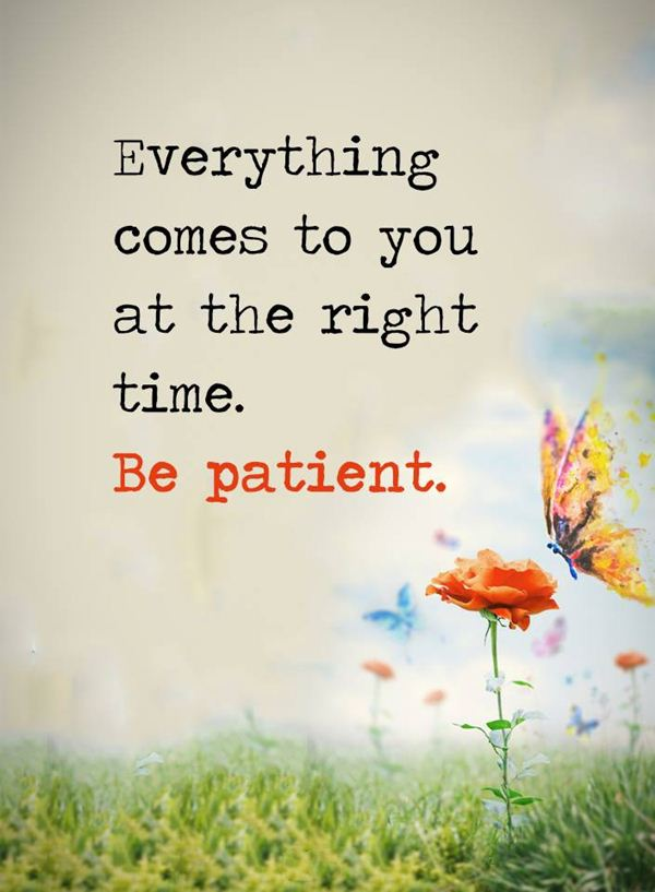 Positive Quotes About Life: Be Patient Everything Comes