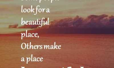 Positive Life Quotes Don't Look for a Beautiful Place, Just Make It