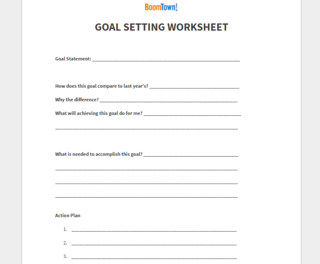 BoomTown real estate goal setting