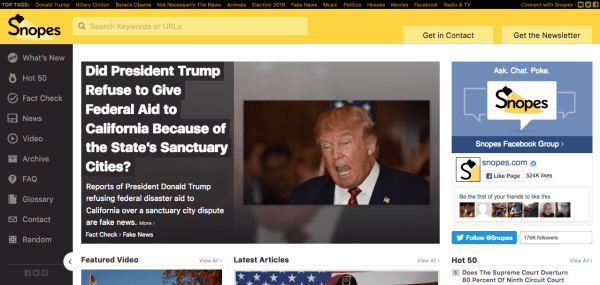 screenshot of Snopes.com homepage