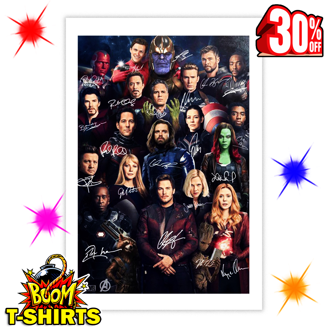 sale off avengers endgame character signature poster