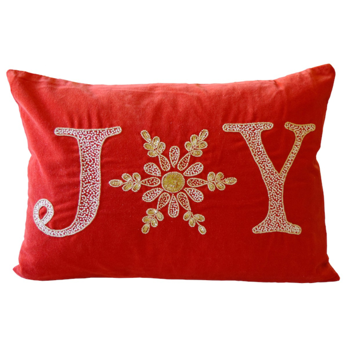 joy in red velvet with silver beading lumbar pillow by debage inc