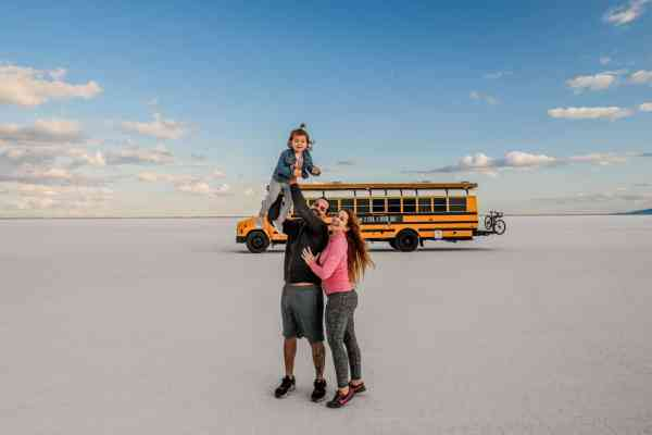 The Traveling Red and her family on the salt flats