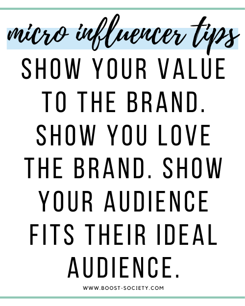 Show your value to the brand. Show you love the brand. Show your audience fits their ideal audience.