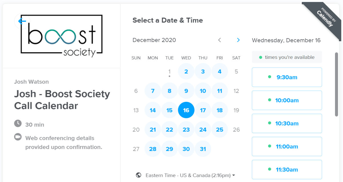 Calendly is a great app for influencers to schedule calls