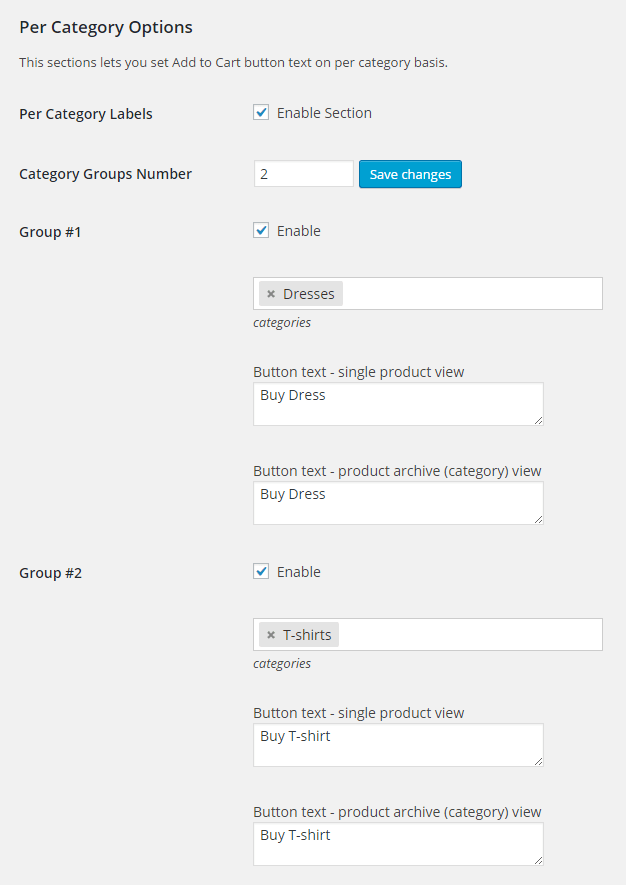 WooCommerce Add to Cart Labels - per category