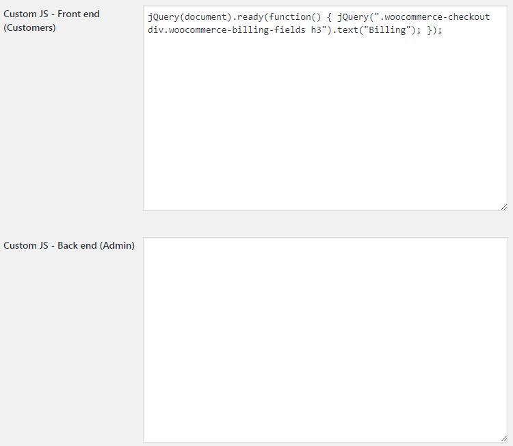 WooCommerce Booster Custom JS - Admin Settings