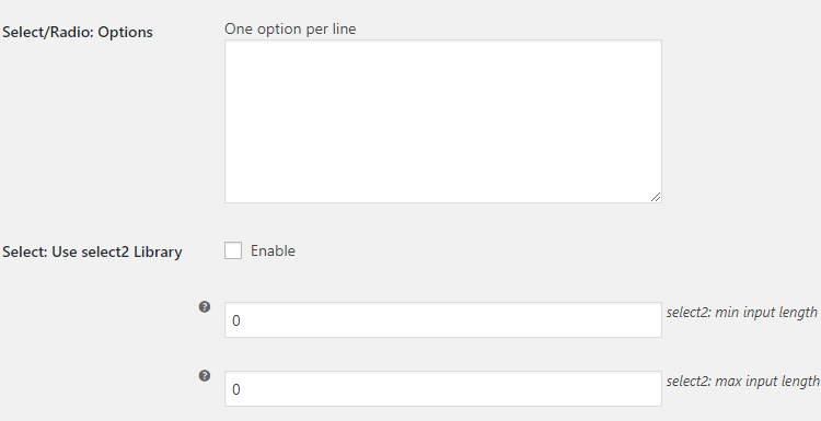 WooCommerce Checkout Custom Fields - Admin Settings - Select and Radio Field Type Options