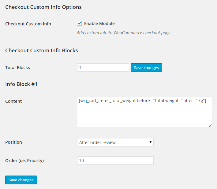 WooCommerce Checkout Custom Info