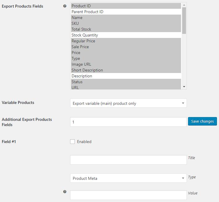WooCommerce Export Tools - Export Products Options