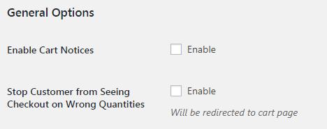WooCommerce Order Min Max Quantities - Admin Settings - General Options