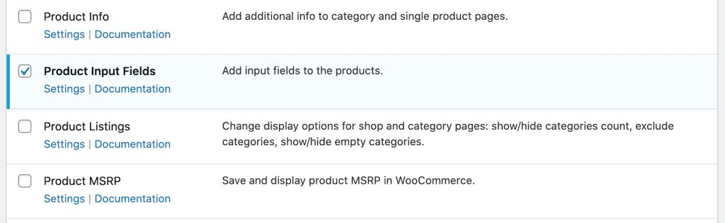 Enable product input fields module