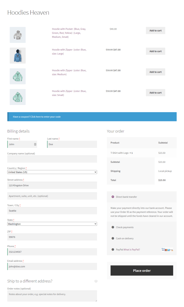 One page checkout preview