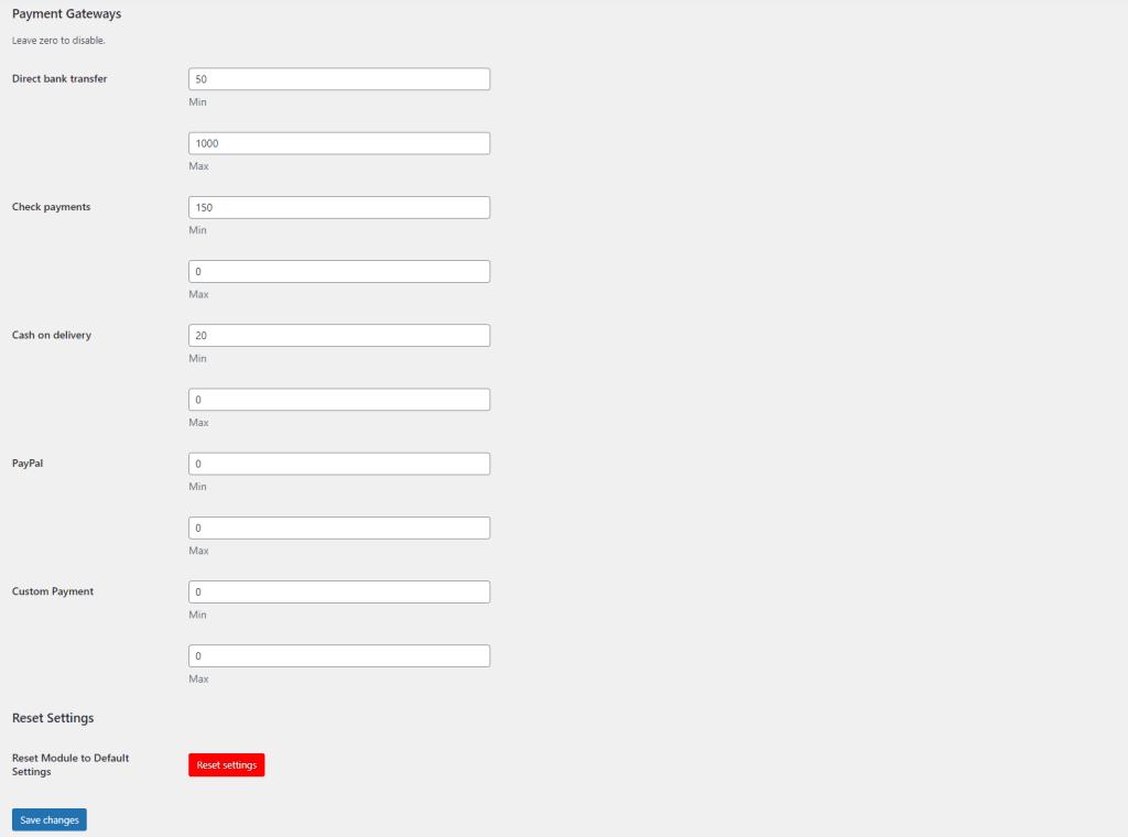 Payment Gateways Min/Max Amount module settings