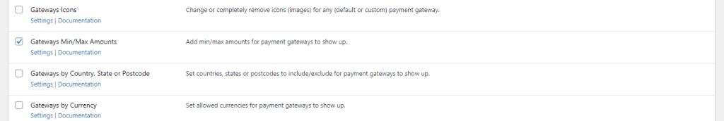 Payment Gateways by Min/Max Amount module