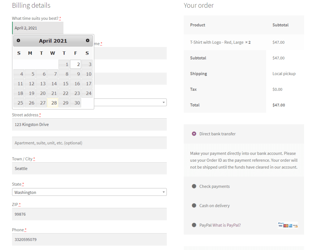 WooCommerce Checkout Custom Fields preview