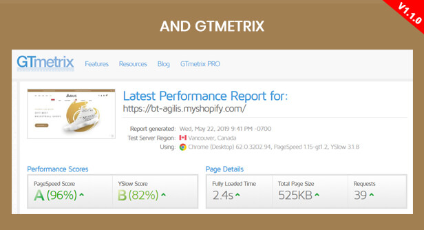 GTMetrix 99/100 - Fast performance