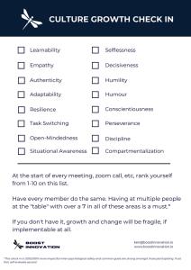 Culture Checklist