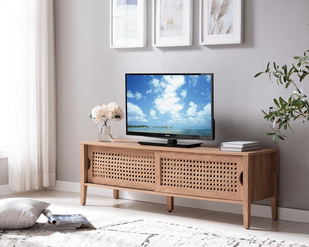 cortena meuble tv 2 portes rotin