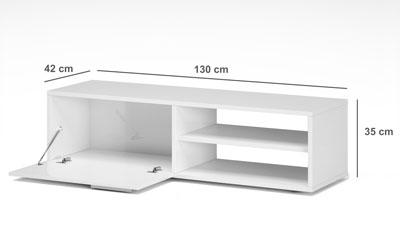 kikua meuble tv contemporain blanc brillant l 130 cm