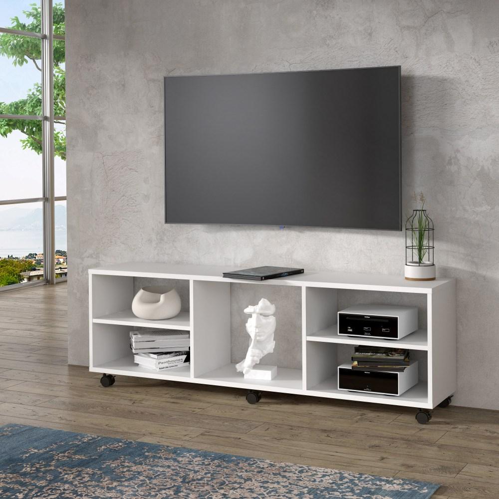 pilvi meuble tv sur roulette blanc mat l 140 x p 30 x h 40 cm