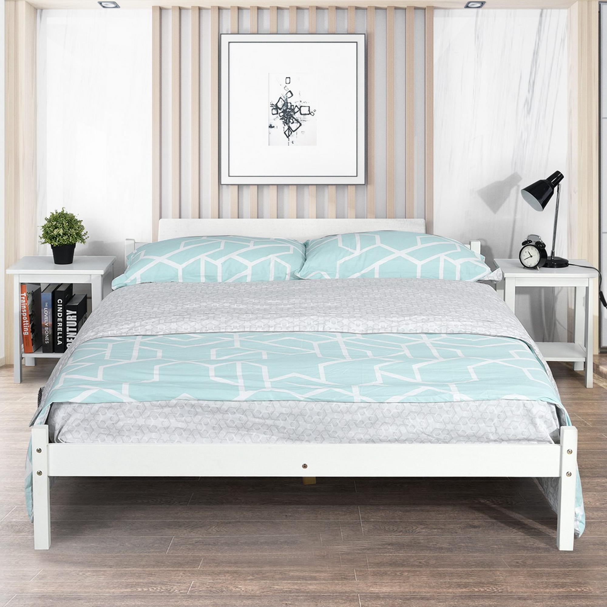 homy casa structure de lit 140 x 190 cm cadre de lit en bois avec sommier pour adulte blanc