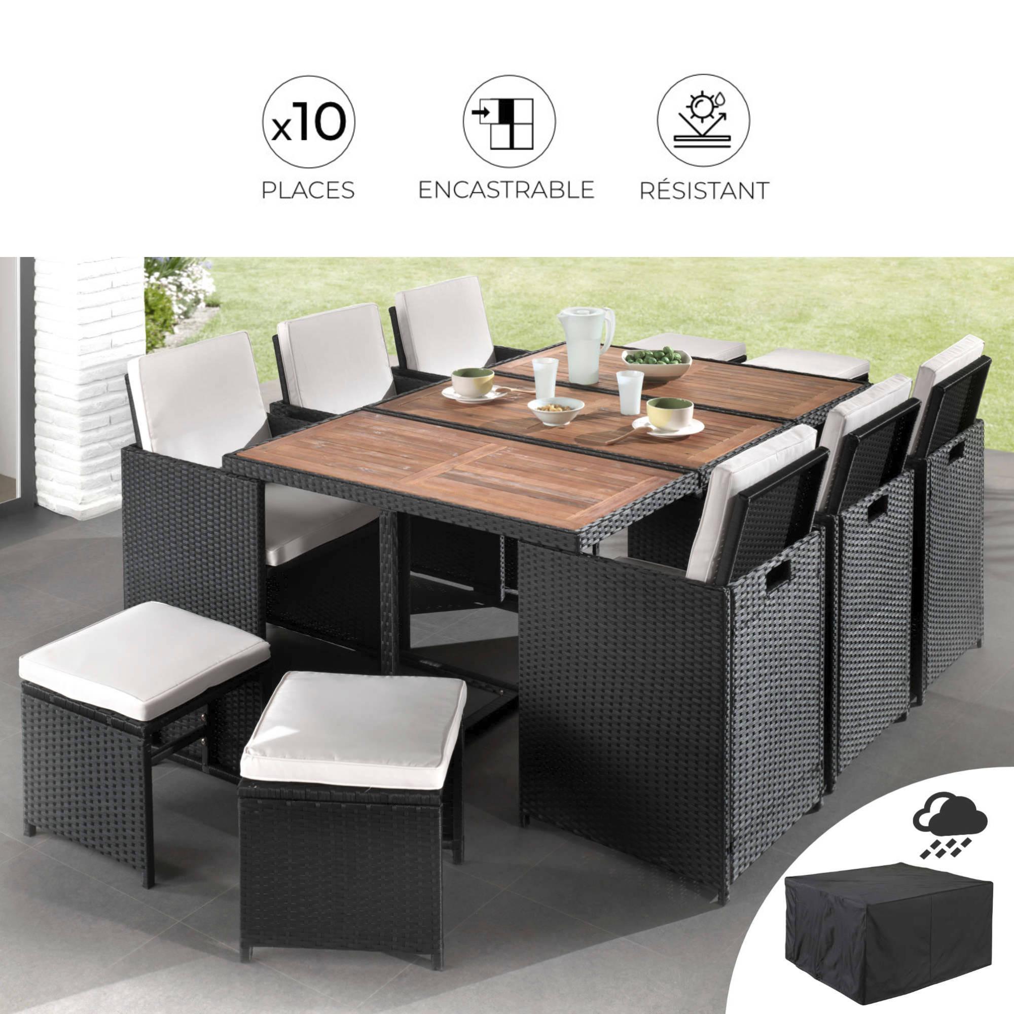 maya salon de jardin encastrable 10 places en resine tressee noir avec coussins beiges housse de protection couleur noir