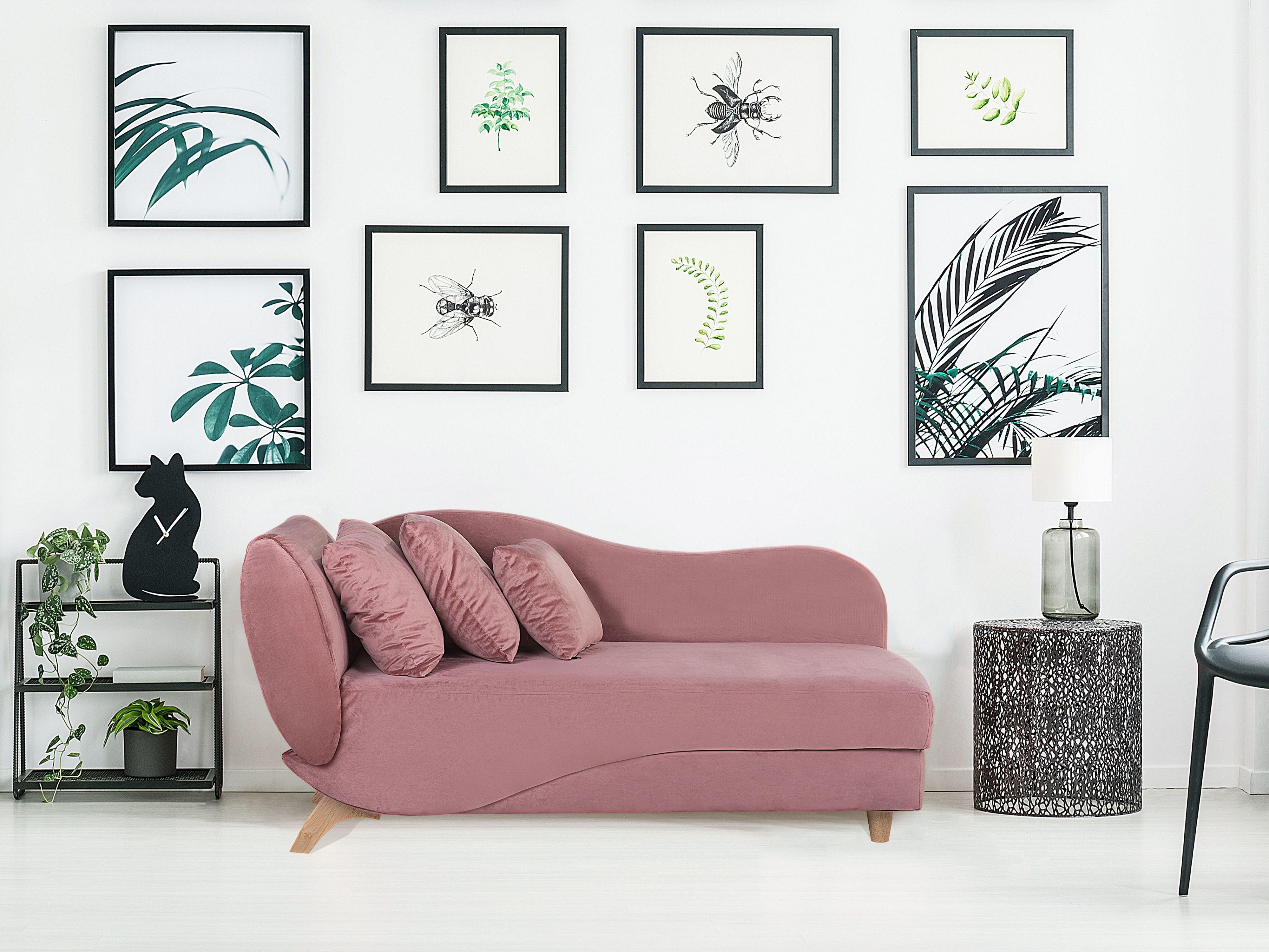 beliani canape rose cote gauche meri