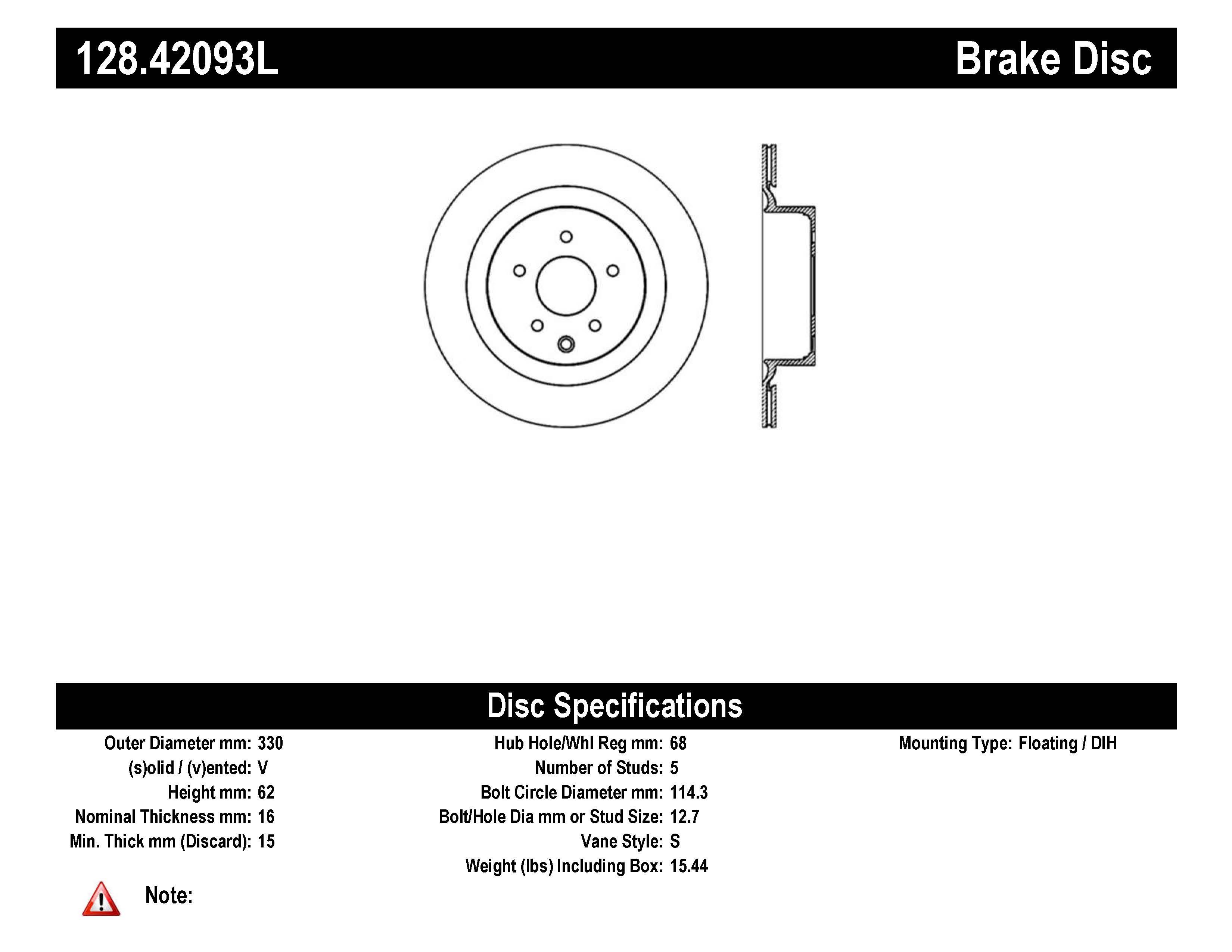 Stoptech Disc Brake Rotor Rear Left For Infiniti G35 G37