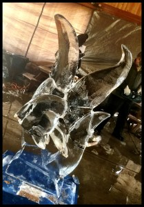 angelfish ice sculpture in progress