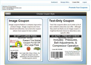 coupon creator image or text