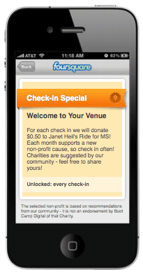check in special on foursquare