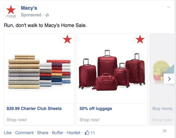 Short Macys facebook post