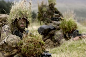 Royal Marines Lance Corporals on exercise in the hills of Sennybridge Wales, during the 11 week Junior Command Course.
