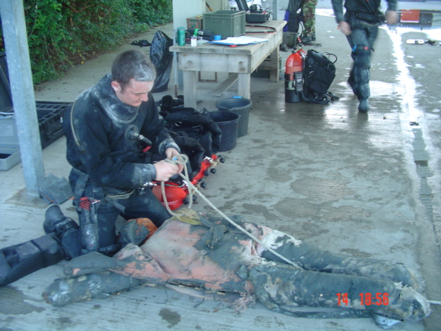 Diver Mike Hunt getting ready for In-Outs