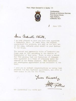 Congratulations Letter to WO1 in 1976