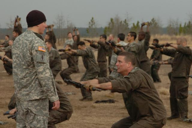 Candidates on the US Army's 'Q' course having some 'fun'.